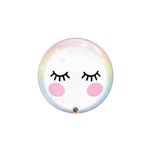 Szempilla Mintás Unikornis - Eyelashes Unicorn Bubble Lufi, egyszarvú