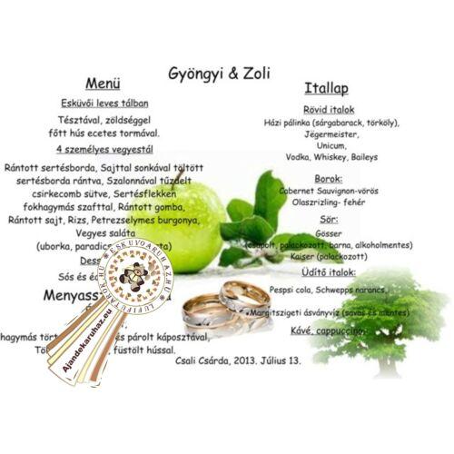 Zöld almás, Vacsora és Itallap,